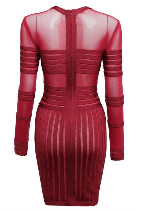 Cross The Line - Mesh x Bandage Long Sleeve Dress - Wine