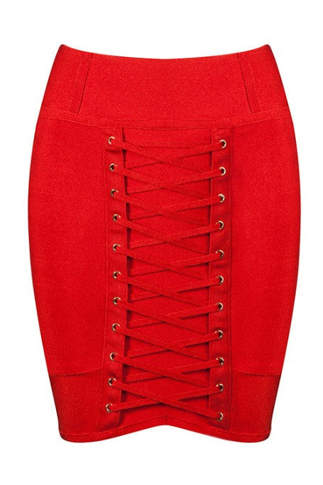 Lace Up - Bandage Mini Skirt - Red