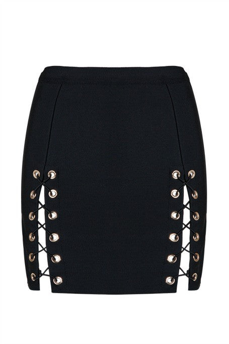 Seduce - Bandage Lace Up Mini Skirt - Black