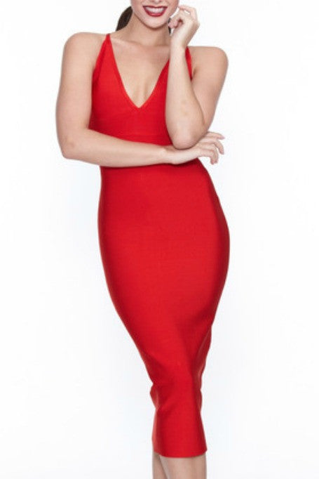 Catch Me If You Can -  Bandage Midi Dress - Red