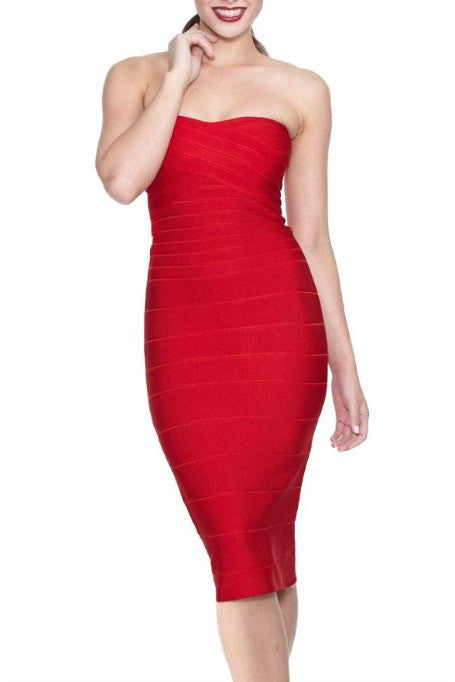 Keep It Simple  - Bandage Midi Dress - Red