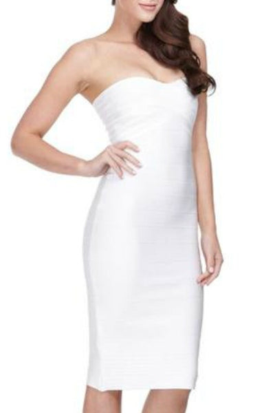 Keep It Simple - Bandage Midi Dress - White. LVST a566b2741
