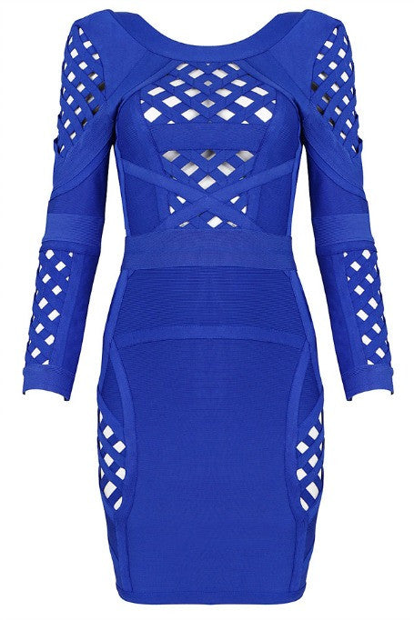 Caged In - Bandage Dress - Blue