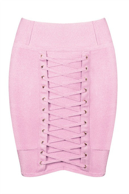 Lace Up - Bandage Mini Skirt - Pink