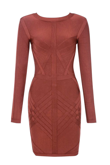 One Place - Long Sleeve Bandage Dress - Brown ec7333597