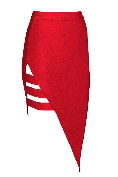 Side Lines - Bandage Skirt - Red