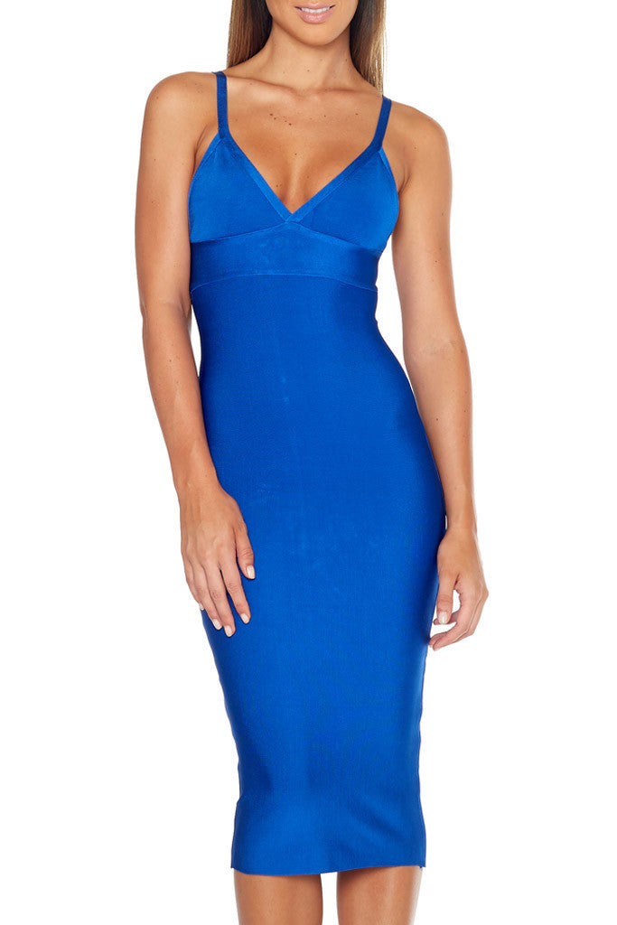 Catch Me If You Can -  Bandage Midi Dress - Blue