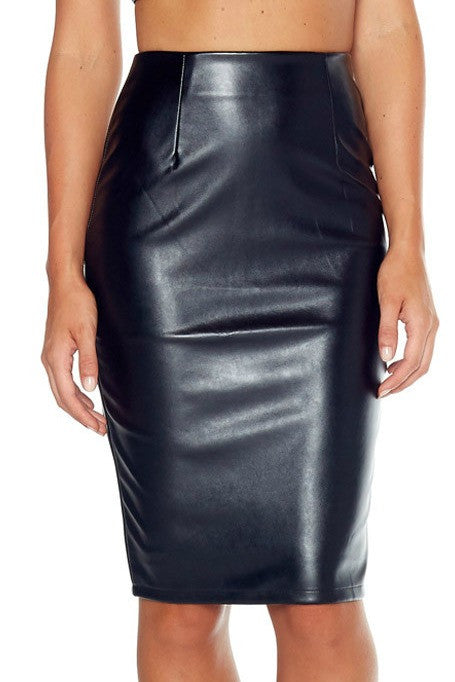 Feline - Leatherette Skirt - Black
