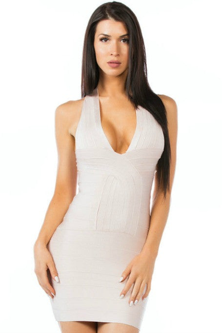 Bombshell - Bandage Mini Dress - Nude