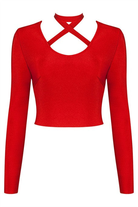 X Yourself - Bandage Long Sleeve Top - Red