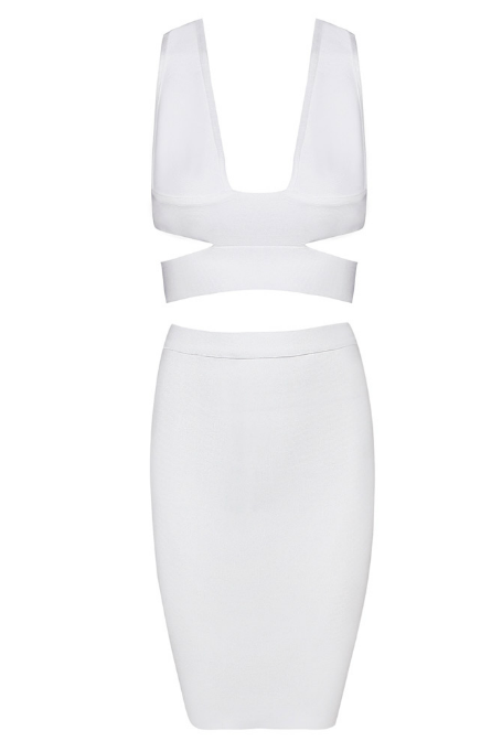 Cream Pie - Two Piece Bandage Set - White