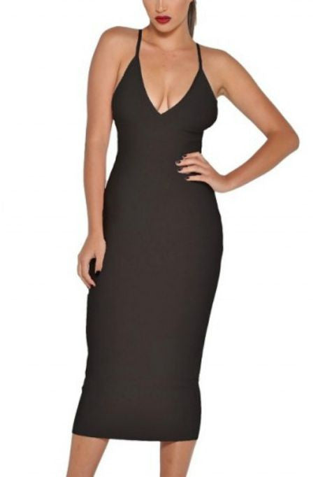 Catch Me If You Can -  Bandage Midi Dress - Black