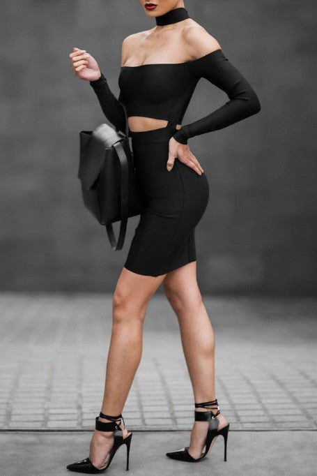 Cut Off - Long Sleeve Bandage Dress - Black