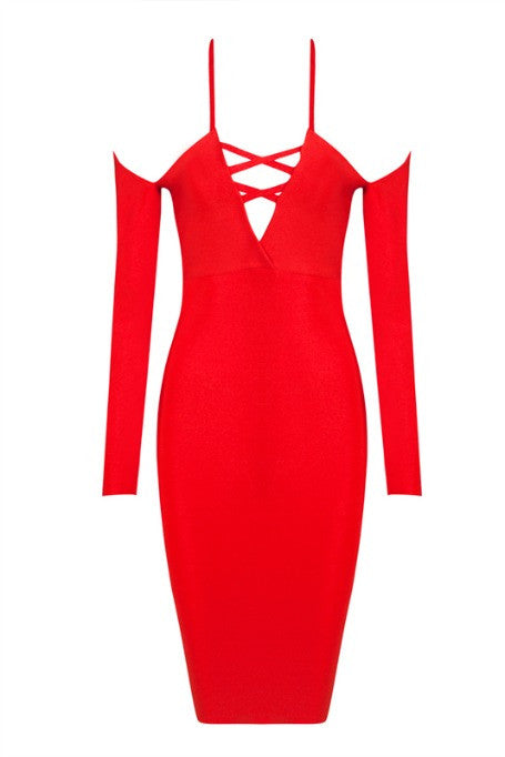 Cold Shoulder - Bandage Long Sleeve Dress - Red