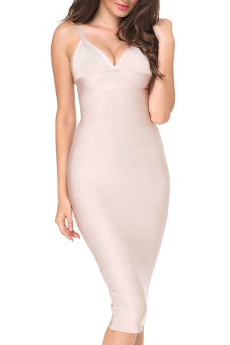 Catch Me If You Can -  Bandage Midi Dress - Nude