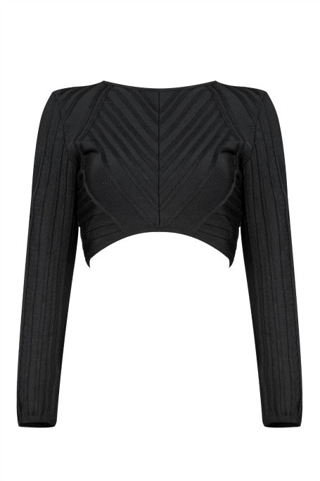 Fine Lines - Long Sleeve Bandage Top - Black