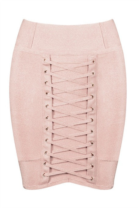 Lace Up - Bandage Mini Skirt - Blush
