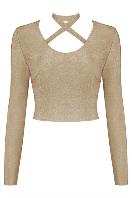 X Yourself - Bandage Long Sleeve Top - Tan