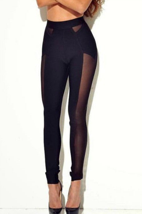 High Expectations - High Waisted Mesh Leggings - Black