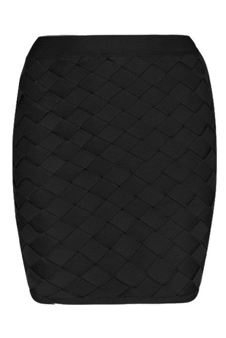 Expecting You - Lattice Bandage Mini Skirt - Black