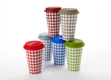 Houndstooth Travel Mugs