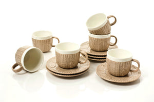 TAUPE ESPRESSO CUPS & SAUCERS 3.5 OZ (Set of 6)