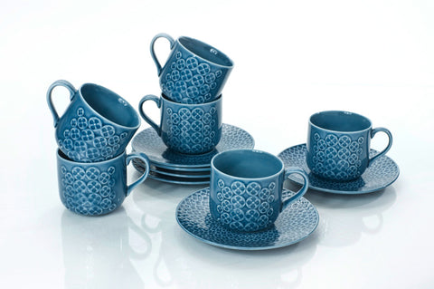 TEA CUPS & SAUCERS 7.0 OZ (Set of 6)