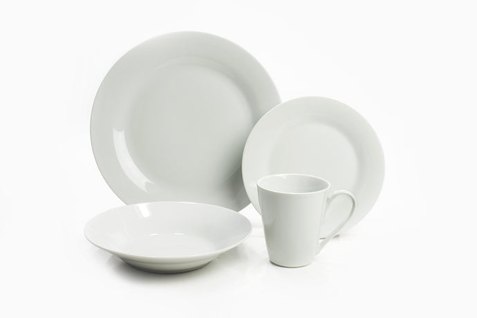 One Dinner plate, one Soup plate, one Salad plate and one Mug in color white