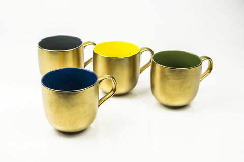 SET OF 4 MUGs ASSORTED/ GOLD
