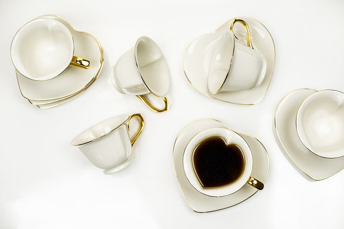 6.5 oz Cup and Saucer (set of 6) IVORY/GOLD