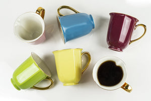 Set of 6 Assorted Gold Heart Mugs 12oz