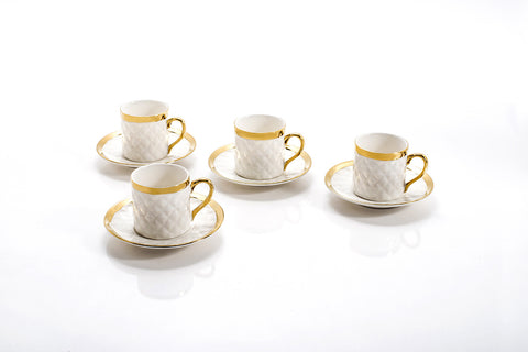 QUILTED ESPRESSO CUPS & SAUCER SET OF 4