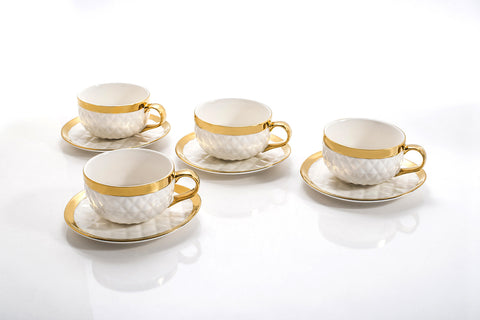 QUILTED TEA CUPS & SAUCERS SET OF 4