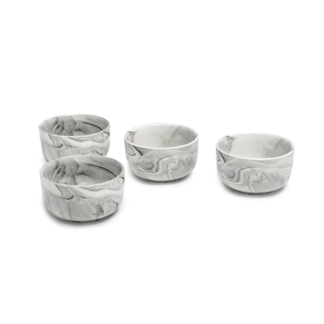 SET OF 4 bowls from the marble collection (grey with white marble combination)