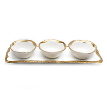 "Load image into Gallery viewer, 16"" RECTANGULAR PLATTER WITH 3 BOWLS"
