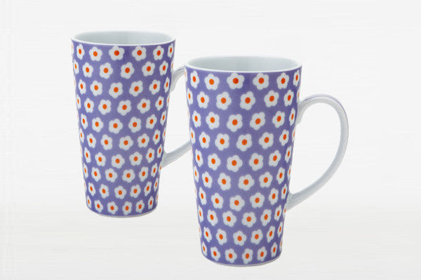 2 Purple Daisy Latte Mugs