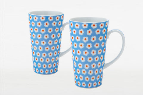 Set of 2 Light Blue Daisy Latte Mugs