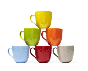 ASSORTED MUGS (SET OF 6) 20OZ, colors yellow, green, orange, light blue, red, and grey.