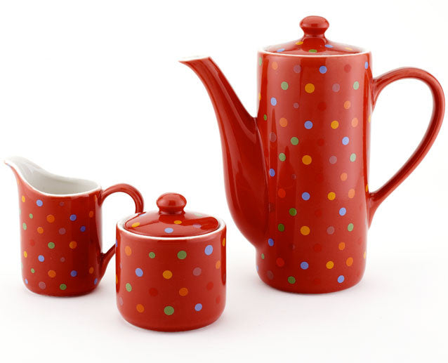 Polka Dot Red Coffee / Teapot, Creamer, Sugar Bowl Set