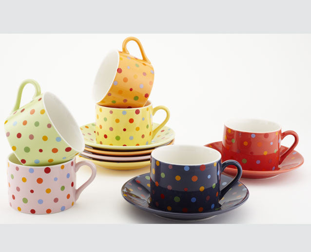 Assorted Polka Dot Cup and Saucer (set of 6)