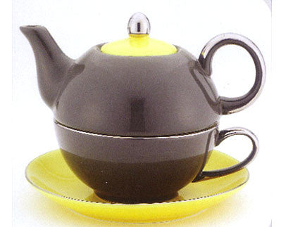 Dark Grey/Yellow Tea for One