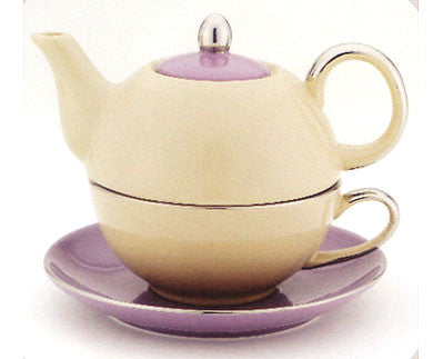 Beige/ Purple Tea for One