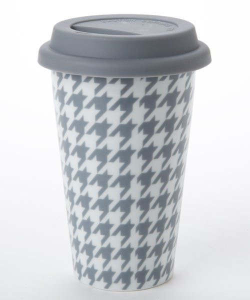S/2 Grey Houndstooth Travel Mug