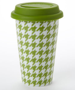 Green Houndstooth Travel Mug