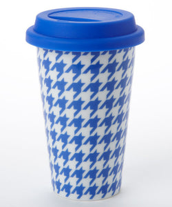 S/2 Blue Houndstooth Travel Mug