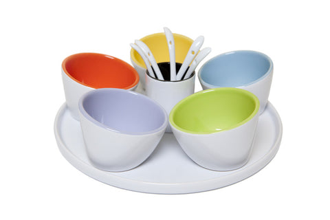 Dip Bowls On Round Tray with Spoons (Set of 12)