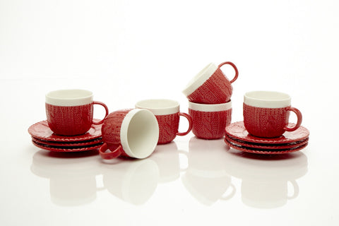 RED ESPRESSO CUPS & SAUCERS 3.5 OZ (Set of 6)