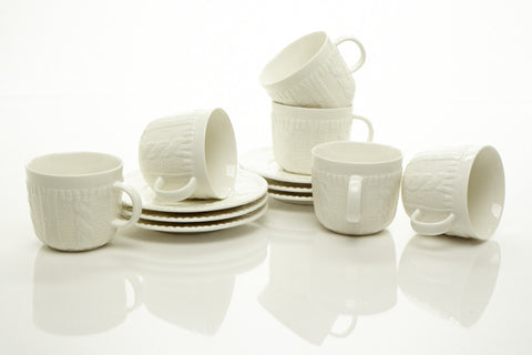 WHITE TEA CUPS & SAUCERS 7.0 OZ (Set of 6)