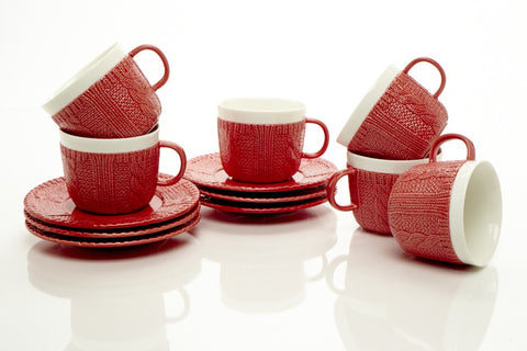RED TEA CUPS & SAUCERS 7.0 OZ (Set of 6)