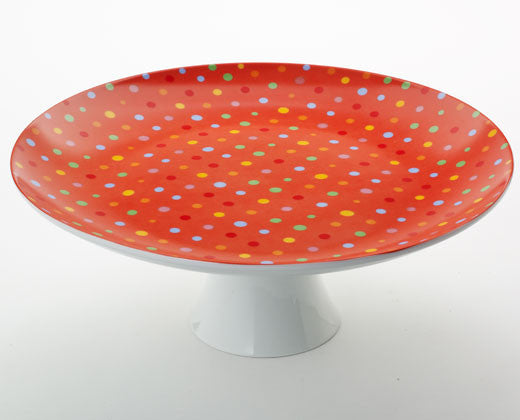 Polka Dot Footed Cake Platter